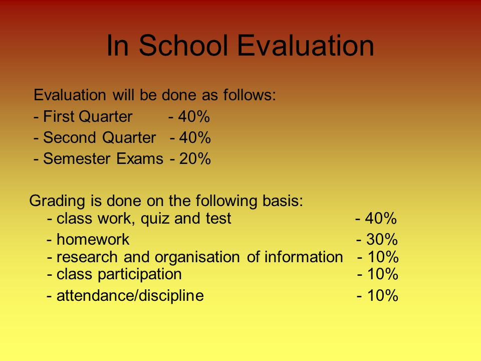 In School Evaluation Evaluation will be done as follows: - First Quarter - 40% - Second Quarter - 40% - Semester Exams - 20% Grading is done on the following basis: - class work, quiz and test - 40% - homework - 30% - research and organisation of information - 10% - class participation - 10% - attendance/discipline - 10%