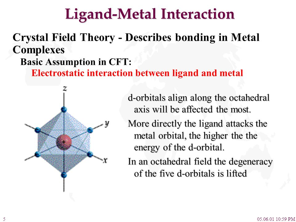 05.06.01 10:59 PM5 Ligand-Metal Interaction Crystal Field Theory - Describes bonding in Metal Complexes Basic Assumption in CFT: Electrostatic interac