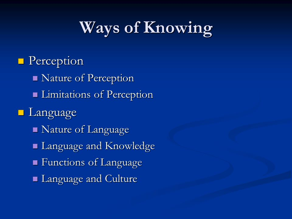 Ways of Knowing Perception Perception Nature of Perception Nature of Perception Limitations of Perception Limitations of Perception Language Language