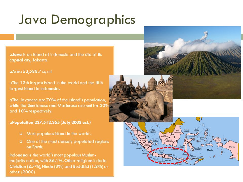 Java Demographics Java is an island of Indonesia and the site of its capital city, Jakarta. Area 53,588.7 sq mi The 13th largest island in the world a