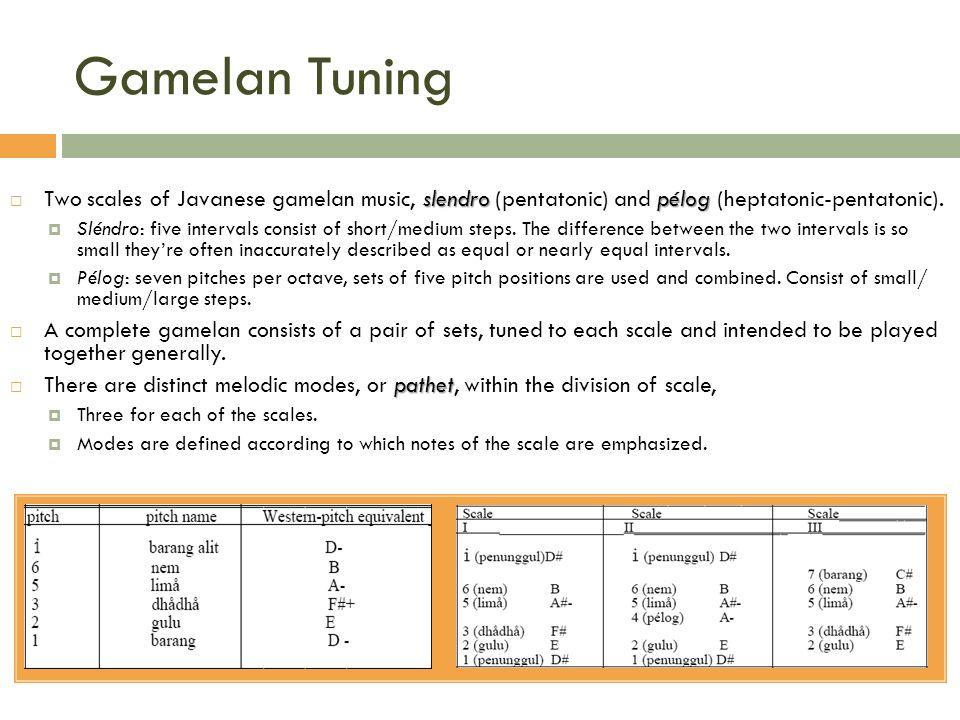 Gamelan Tuning slendropélog Two scales of Javanese gamelan music, slendro (pentatonic) and pélog (heptatonic-pentatonic). Sléndro: five intervals cons