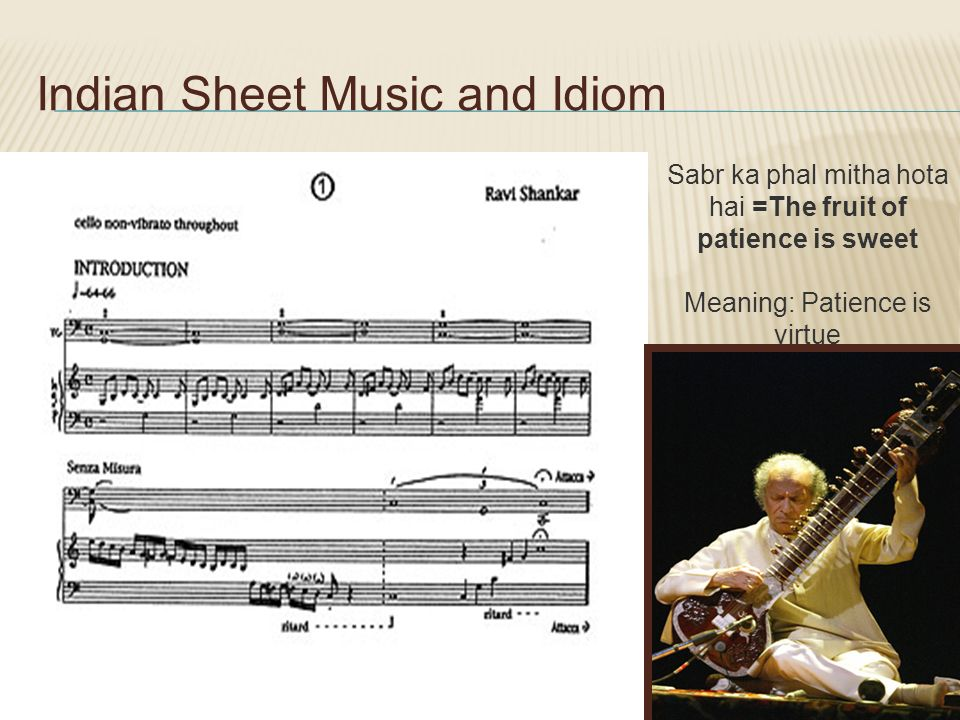 Indian Sheet Music and Idiom Sabr ka phal mitha hota hai =The fruit of patience is sweet Meaning: Patience is virtue