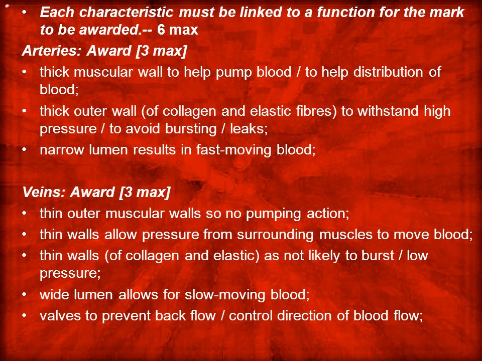 Each characteristic must be linked to a function for the mark to be awarded.-- 6 max Arteries: Award [3 max] thick muscular wall to help pump blood /