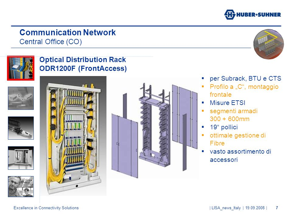 Excellence in Connectivity Solutions | LISA_news_Italy | 19.09.2008 |7 Communication Network Central Office (CO) Optical Distribution Rack ODR1200F (F