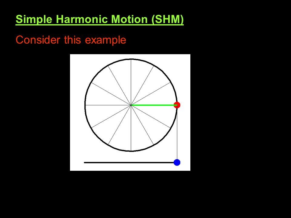 Simple Harmonic Motion (SHM) Consider this example
