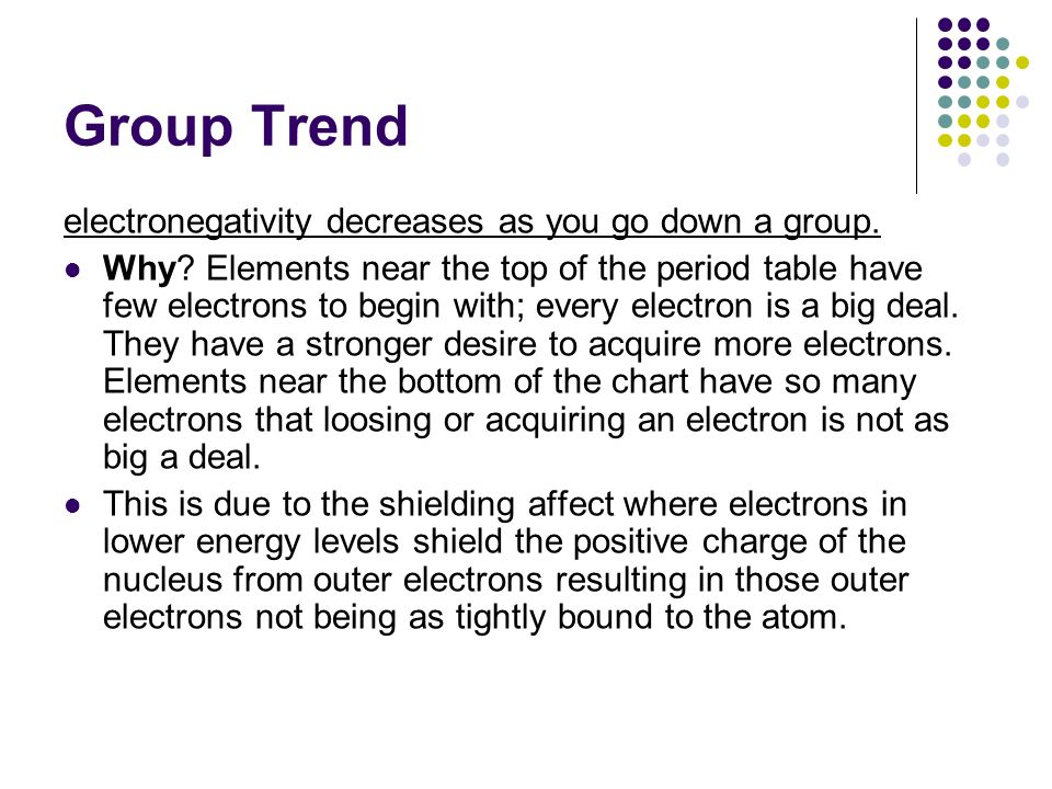 Group Trend electronegativity decreases as you go down a group. Why? Elements near the top of the period table have few electrons to begin with; every