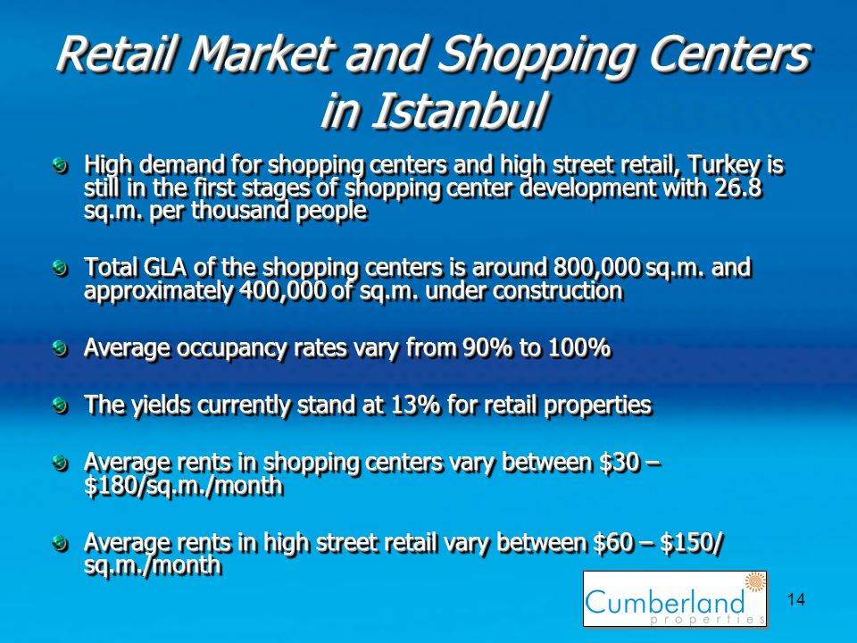 14 Retail Market and Shopping Centers in Istanbul High demand for shopping centers and high street retail, Turkey is still in the first stages of shopping center development with 26.8 sq.m.