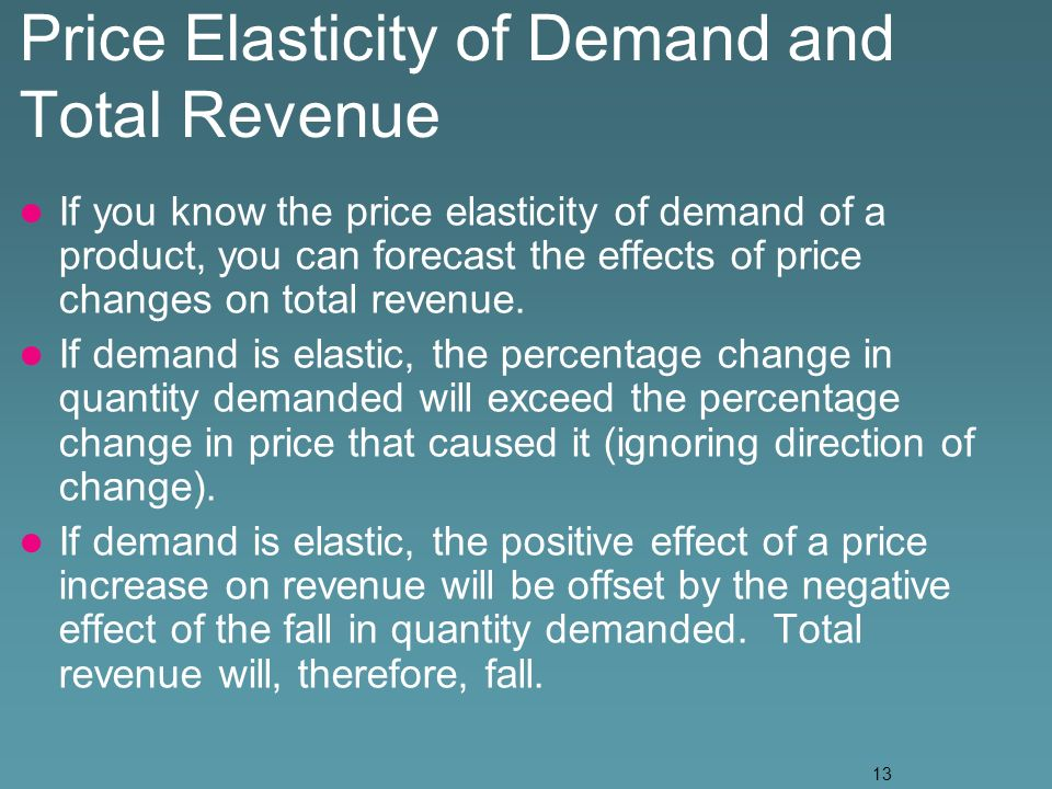13 Price Elasticity of Demand and Total Revenue If you know the price elasticity of demand of a product, you can forecast the effects of price changes on total revenue.