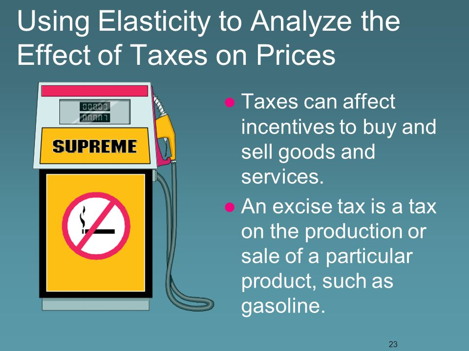 23 Using Elasticity to Analyze the Effect of Taxes on Prices Taxes can affect incentives to buy and sell goods and services.