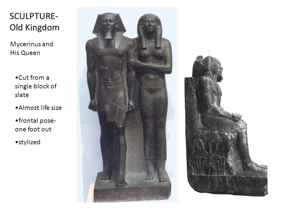 SCULPTURE- Old Kingdom Mycerinus and His Queen Cut from a single block of slate Almost life size frontal pose- one foot out stylized