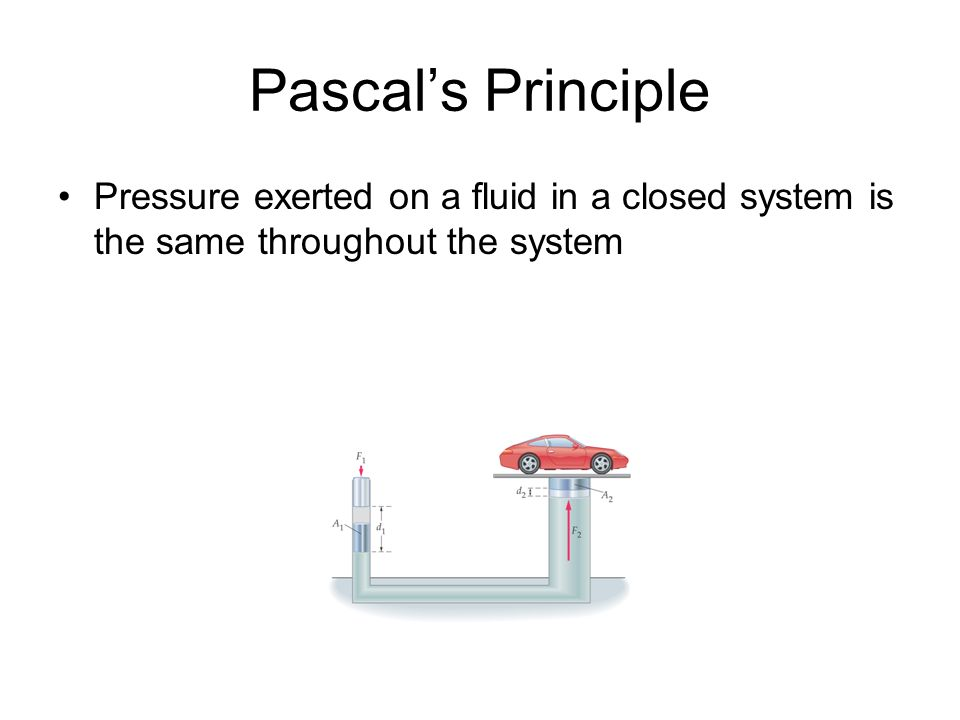 Pascals Principle Pressure exerted on a fluid in a closed system is the same throughout the system