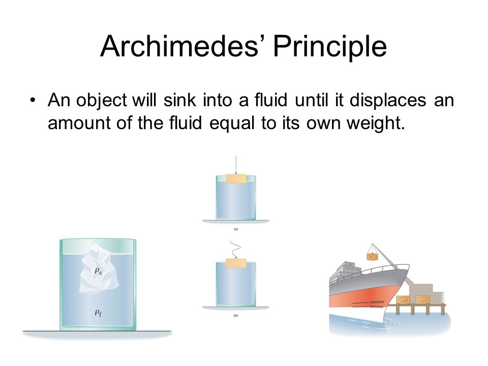 Archimedes Principle An object will sink into a fluid until it displaces an amount of the fluid equal to its own weight.