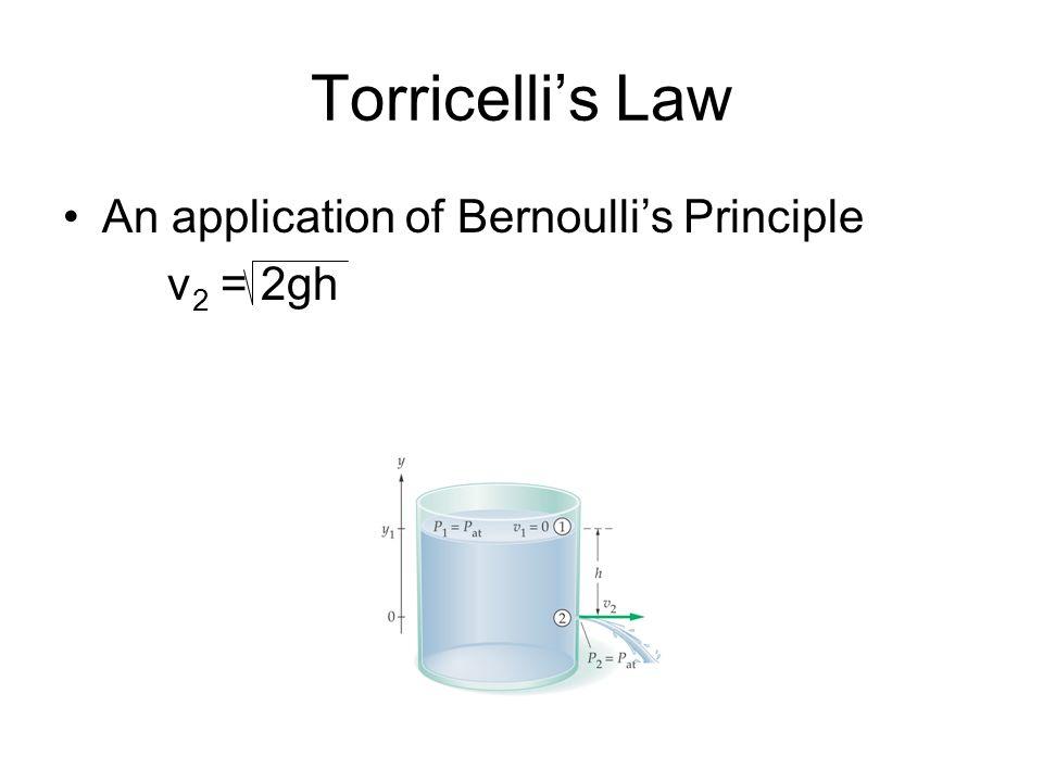 Torricellis Law An application of Bernoullis Principle v 2 = 2gh