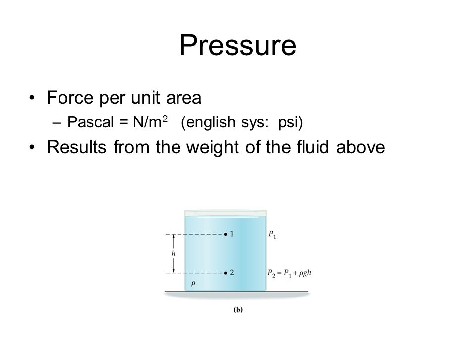 Pressure Force per unit area –Pascal = N/m 2 (english sys: psi) Results from the weight of the fluid above