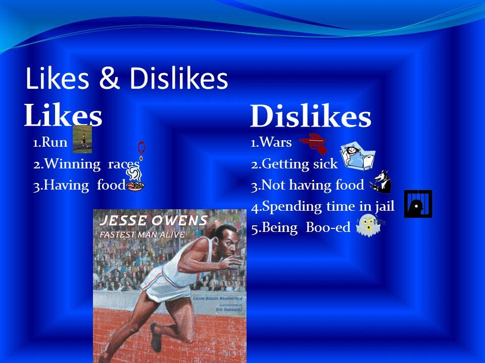 Likes & Dislikes Likes Dislikes 1.Run 2.Winning races 3.Having food 1.Wars 2.Getting sick 3.Not having food 4.Spending time in jail 5.Being Boo-ed