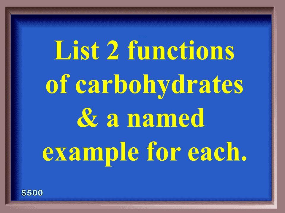 3-400A400A 1 - 100 Plant starch (Amylose) Glycogen Cellulose Chitin Pectin