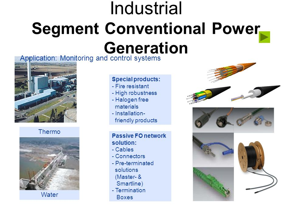 Industrial Segment Conventional Power Generation Passive FO network solution: - Cables - Connectors - Pre-terminated solutions (Master- & Smartline) -