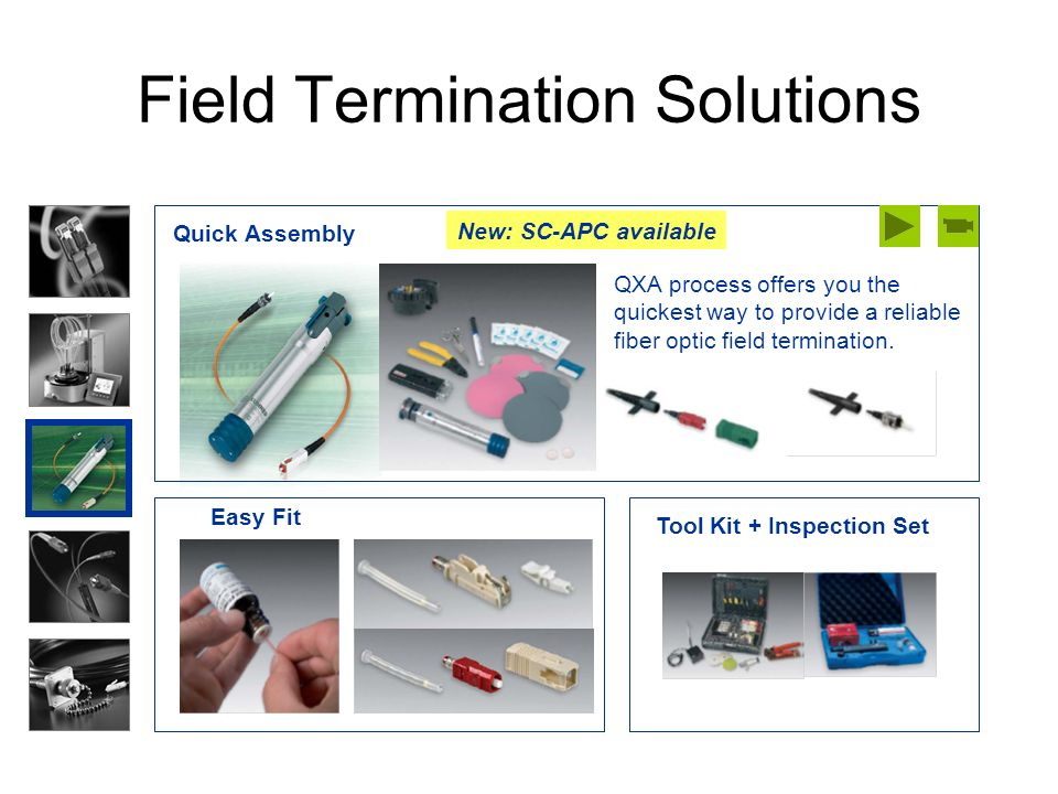 Field Termination Solutions Easy Fit Quick Assembly QXA process offers you the quickest way to provide a reliable fiber optic field termination. Tool