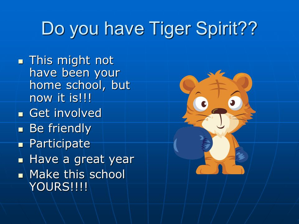 Do you have Tiger Spirit?. This might not have been your home school, but now it is!!.