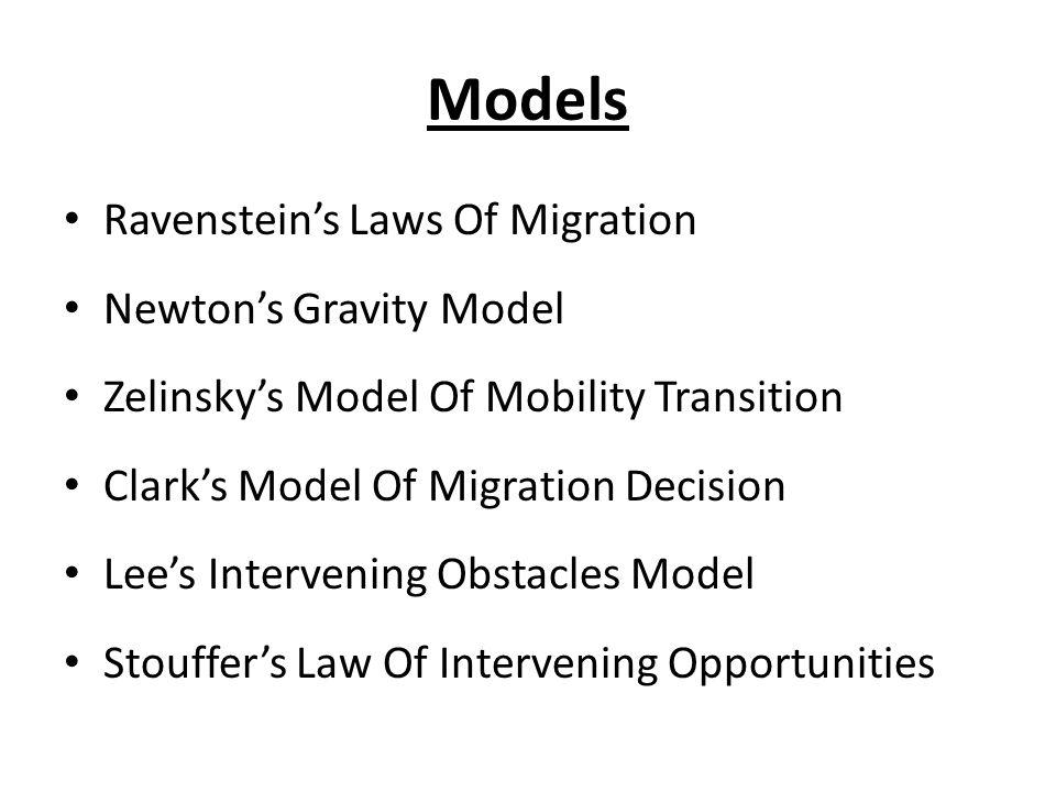 Models Ravensteins Laws Of Migration Newtons Gravity Model Zelinskys Model Of Mobility Transition Clarks Model Of Migration Decision Lees Intervening