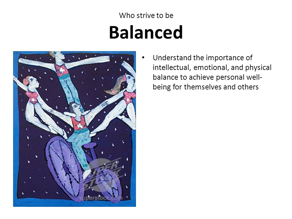 Who strive to be Balanced Understand the importance of intellectual, emotional, and physical balance to achieve personal well- being for themselves an