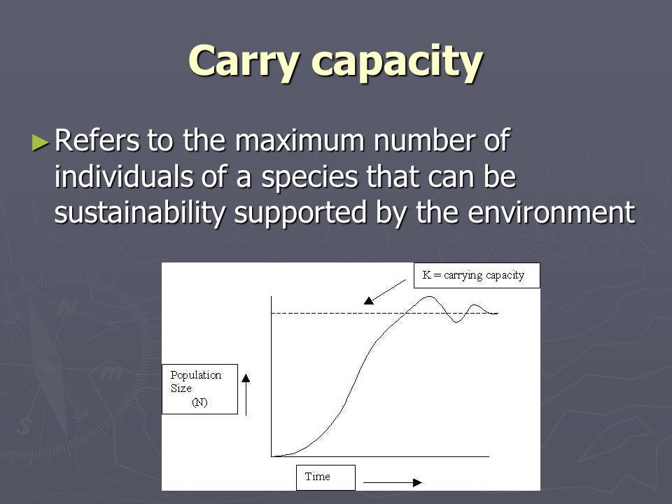 Carry capacity Refers to the maximum number of individuals of a species that can be sustainability supported by the environment Refers to the maximum number of individuals of a species that can be sustainability supported by the environment