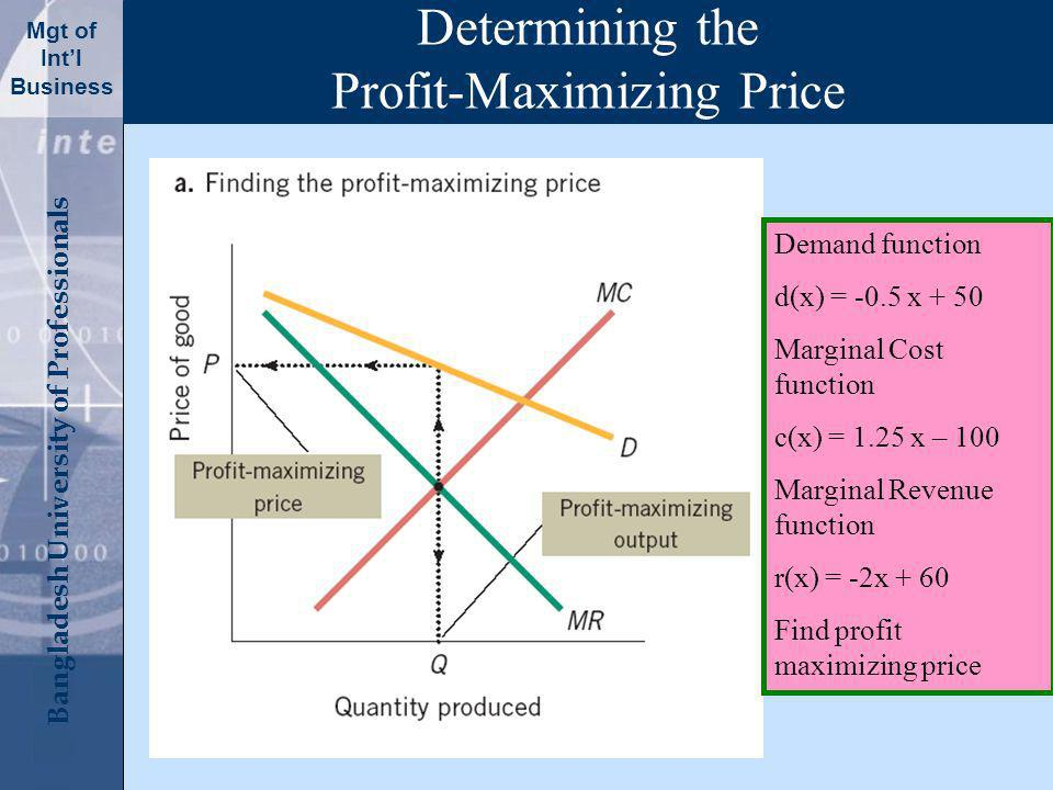 Click to edit Master title style Bangladesh University of Professionals Mgt of Intl Business Determining the Profit-Maximizing Price Demand function d(x) = -0.5 x + 50 Marginal Cost function c(x) = 1.25 x – 100 Marginal Revenue function r(x) = -2x + 60 Find profit maximizing price