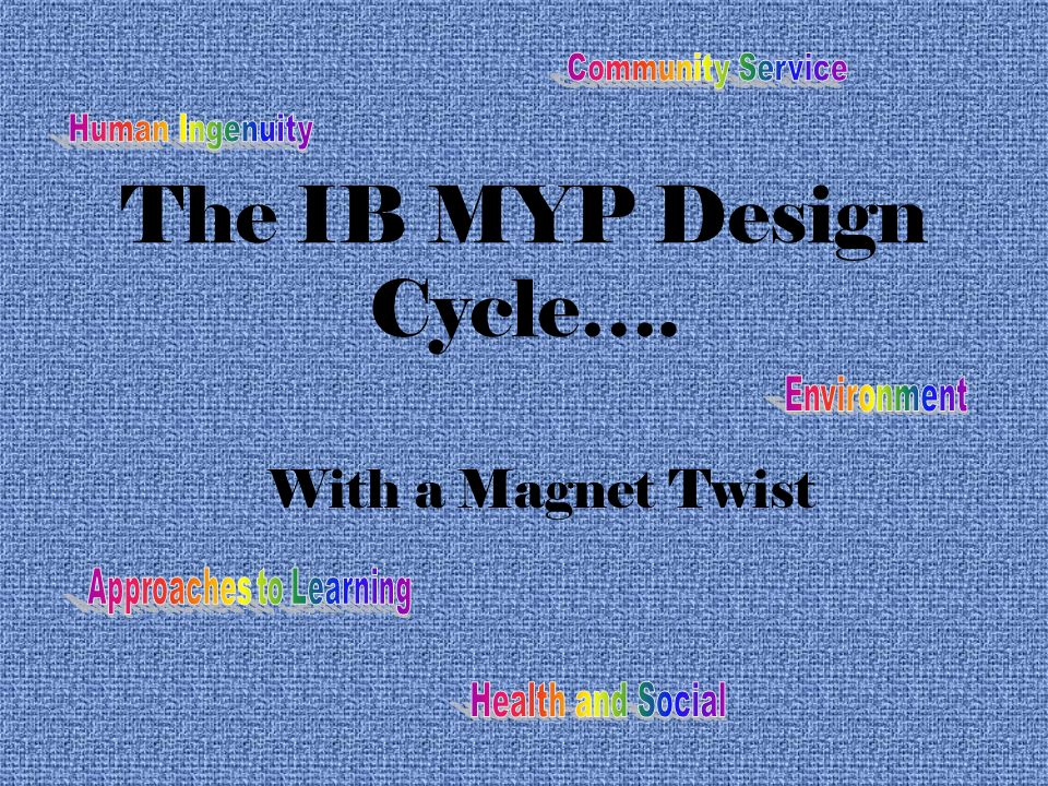The IB MYP Design Cycle…. With a Magnet Twist