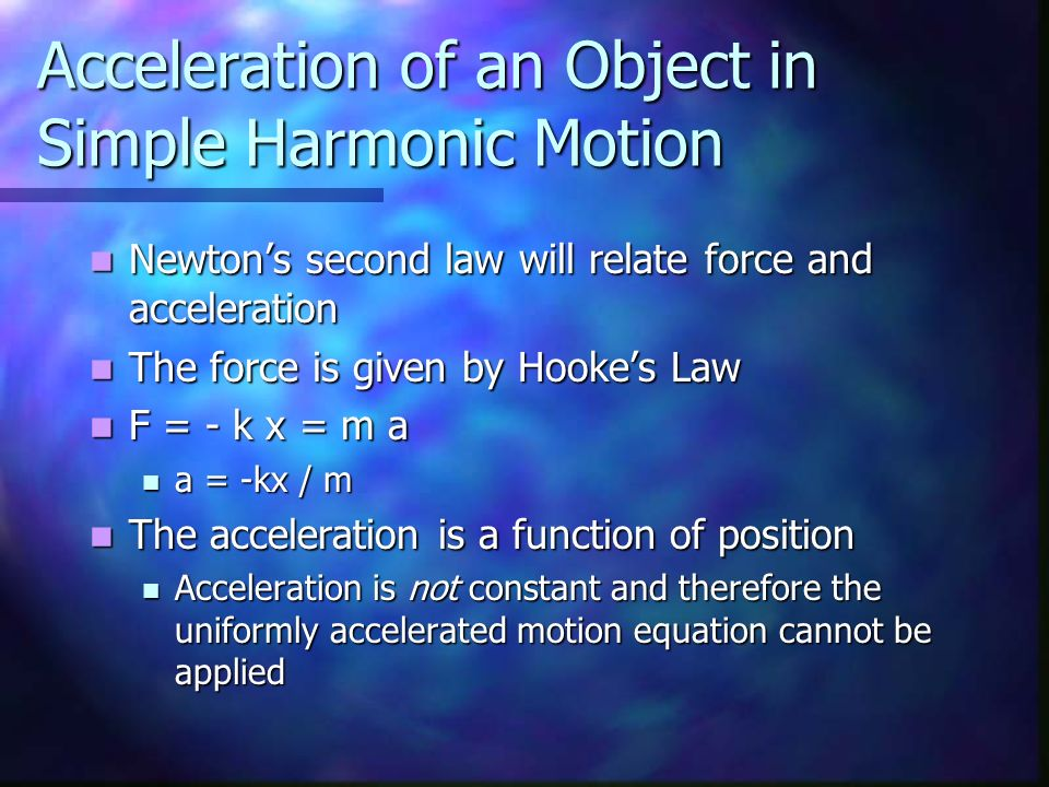 Acceleration of an Object in Simple Harmonic Motion Newtons second law will relate force and acceleration Newtons second law will relate force and acc