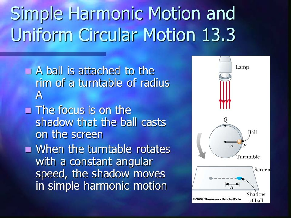 Simple Harmonic Motion and Uniform Circular Motion 13.3 A ball is attached to the rim of a turntable of radius A A ball is attached to the rim of a tu