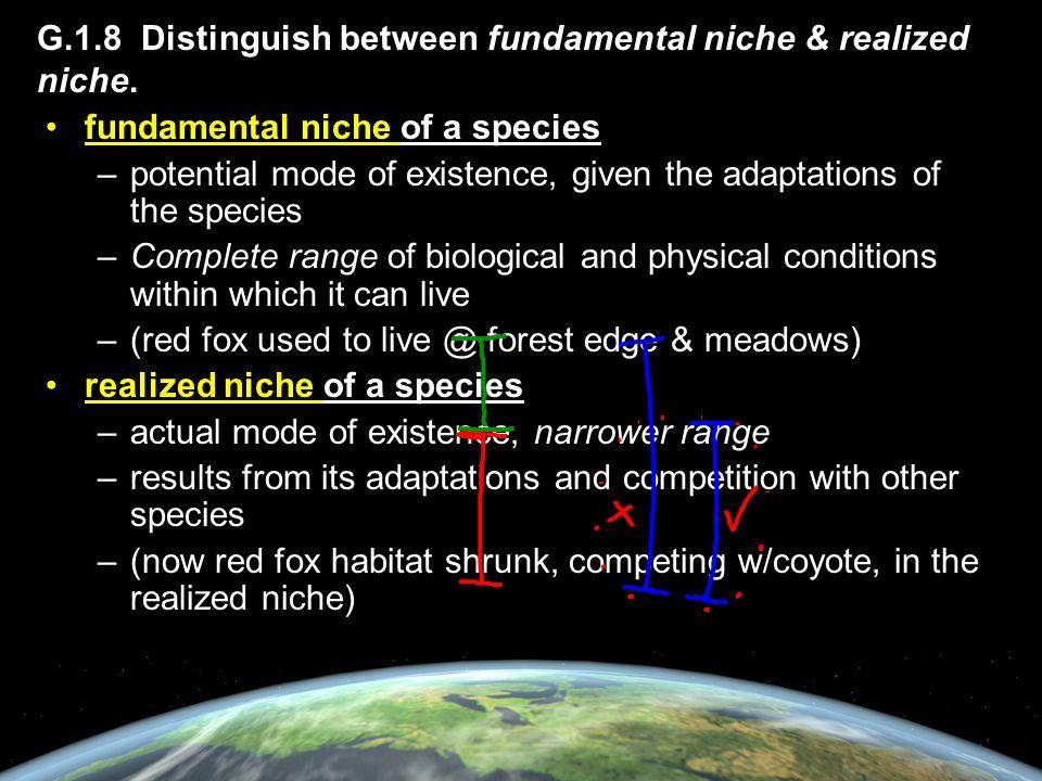 G.1.8 Distinguish between fundamental niche & realized niche.