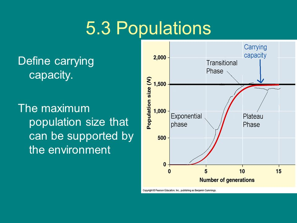 5.3 Populations Define carrying capacity. The maximum population size that can be supported by the environment