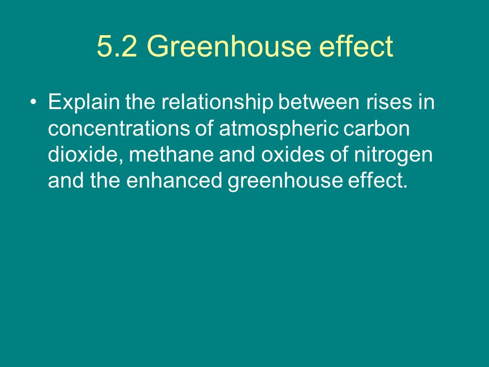 5.2 Greenhouse effect Explain the relationship between rises in concentrations of atmospheric carbon dioxide, methane and oxides of nitrogen and the e