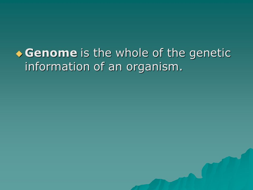 Genome is the whole of the genetic information of an organism.