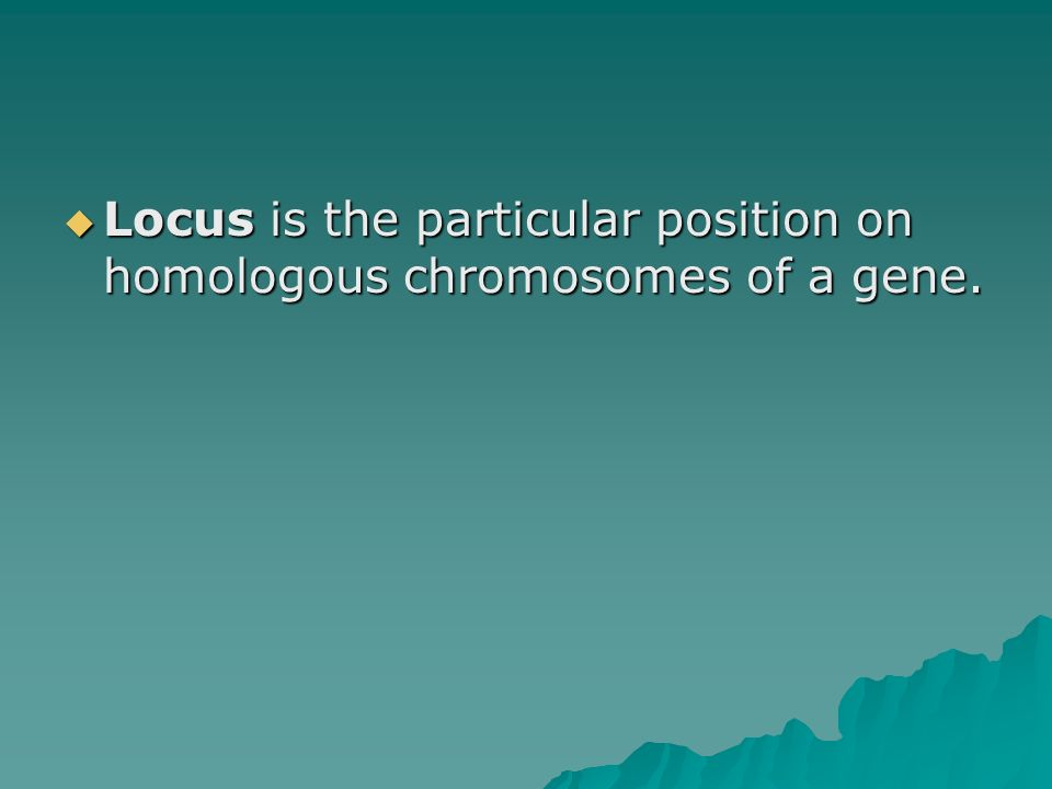 Locus is the particular position on homologous chromosomes of a gene.