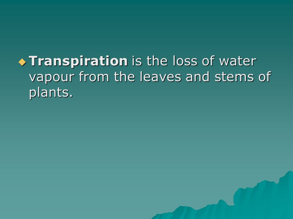 Transpiration is the loss of water vapour from the leaves and stems of plants.