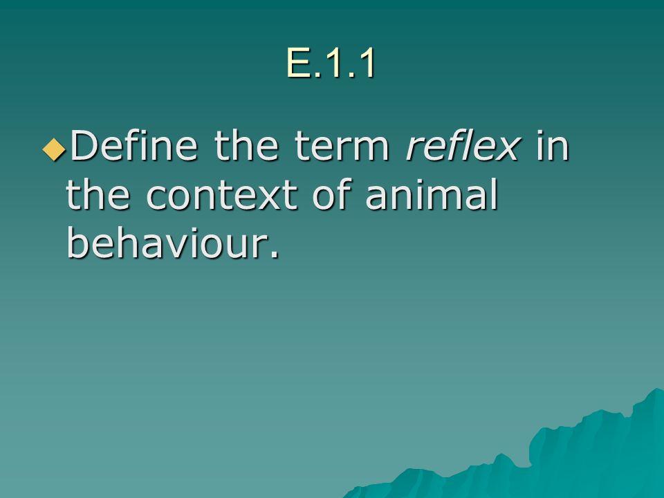 E.1.1 Define the term reflex in the context of animal behaviour.