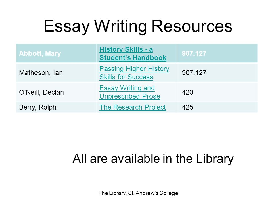 Essay Writing Resources The Library, St. Andrew's College Abbott, Mary History Skills - a Student's Handbook 907.127 Matheson, Ian Passing Higher Hist