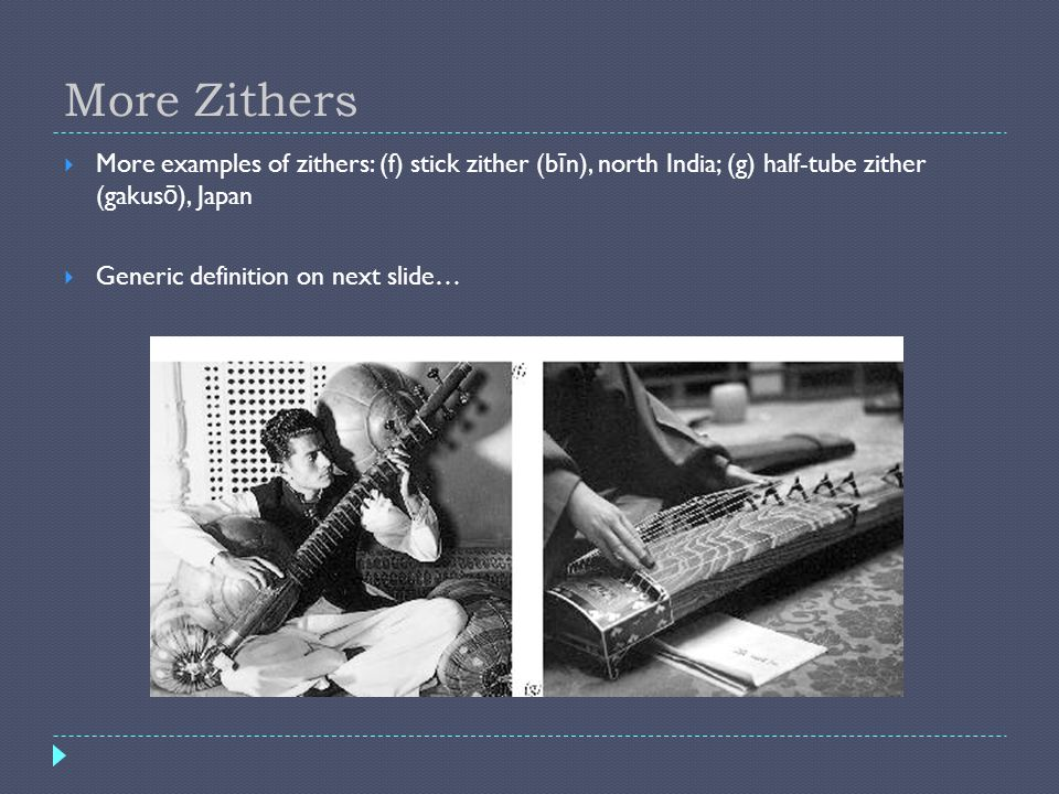 More Zithers More examples of zithers: (f) stick zither (b ī n), north India; (g) half-tube zither (gakus ō ), Japan Generic definition on next slide…