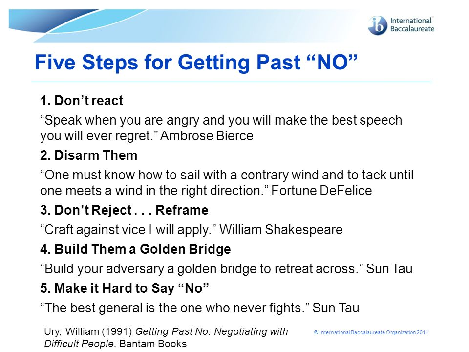 © International Baccalaureate Organization 2011 Five Steps for Getting Past NO 1. Dont react Speak when you are angry and you will make the best speec