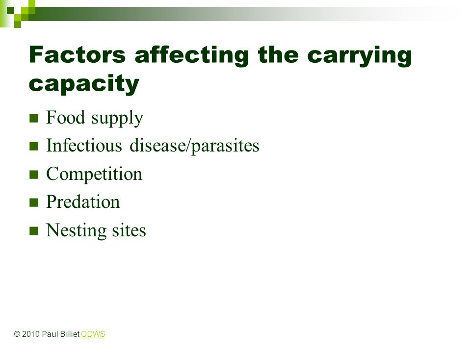 Factors affecting the carrying capacity Food supply Infectious disease/parasites Competition Predation Nesting sites © 2010 Paul Billiet ODWSODWS