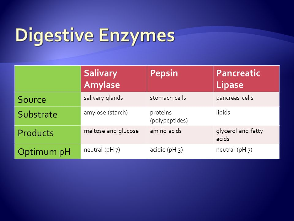 Salivary Amylase PepsinPancreatic Lipase Source salivary glandsstomach cellspancreas cells Substrate amylose (starch)proteins (polypeptides) lipids Products maltose and glucoseamino acidsglycerol and fatty acids Optimum pH neutral (pH 7)acidic (pH 3)neutral (pH 7)