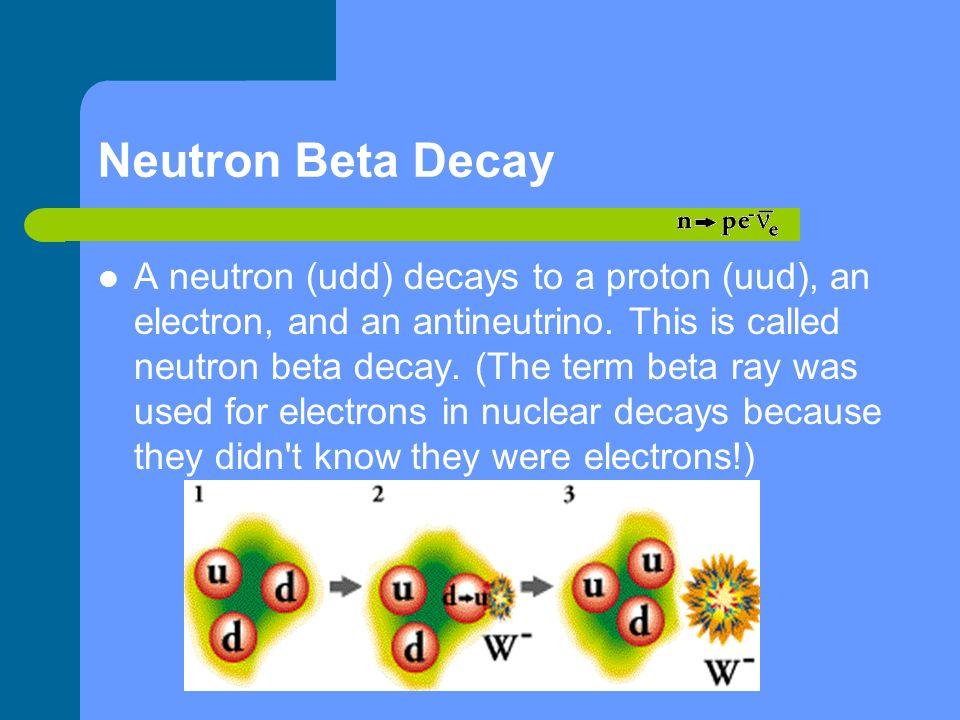 Neutron Beta Decay A neutron (udd) decays to a proton (uud), an electron, and an antineutrino. This is called neutron beta decay. (The term beta ray w