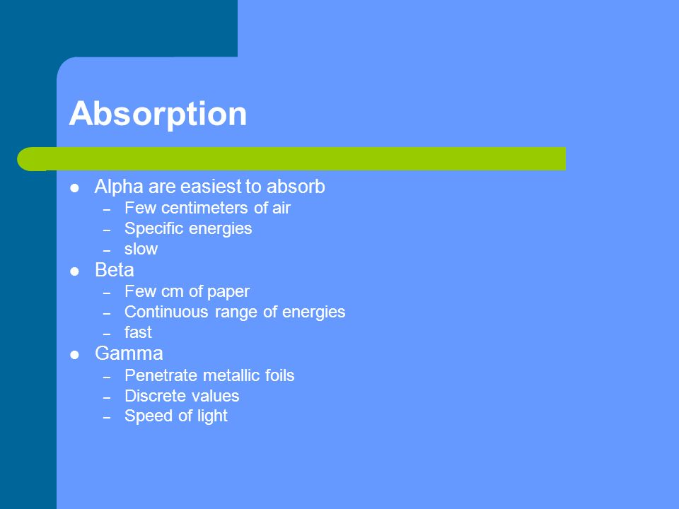 Absorption Alpha are easiest to absorb – Few centimeters of air – Specific energies – slow Beta – Few cm of paper – Continuous range of energies – fas