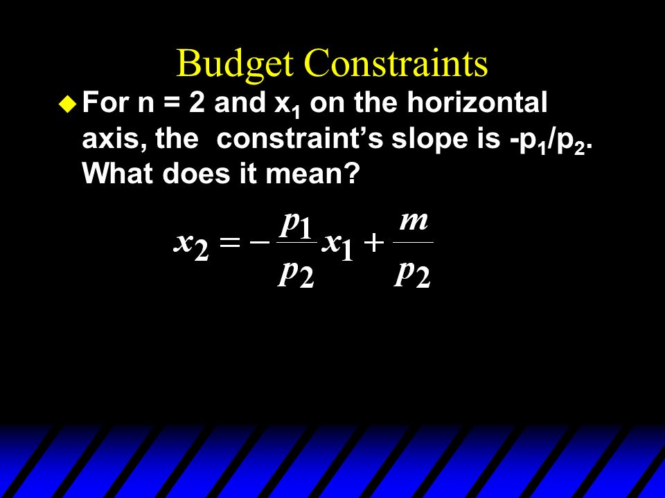 Budget Constraints u For n = 2 and x 1 on the horizontal axis, the constraints slope is -p 1 /p 2. What does it mean?