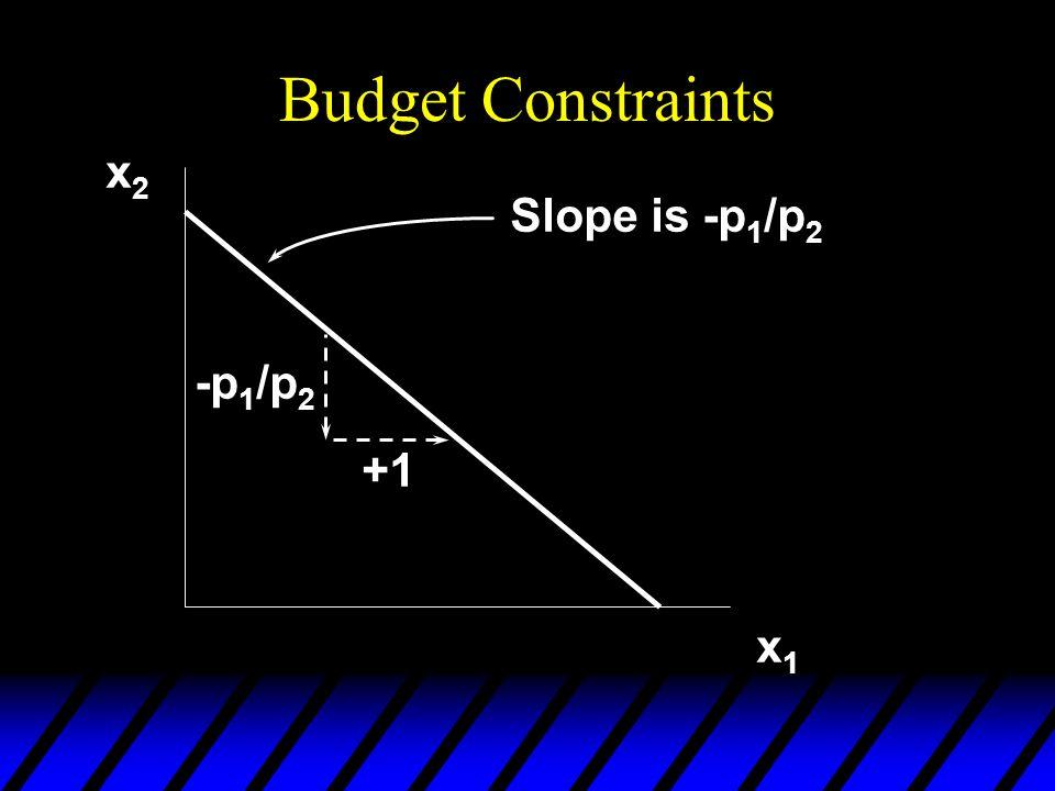 Budget Constraints x2x2 x1x1 Slope is -p 1 /p 2 +1 -p 1 /p 2