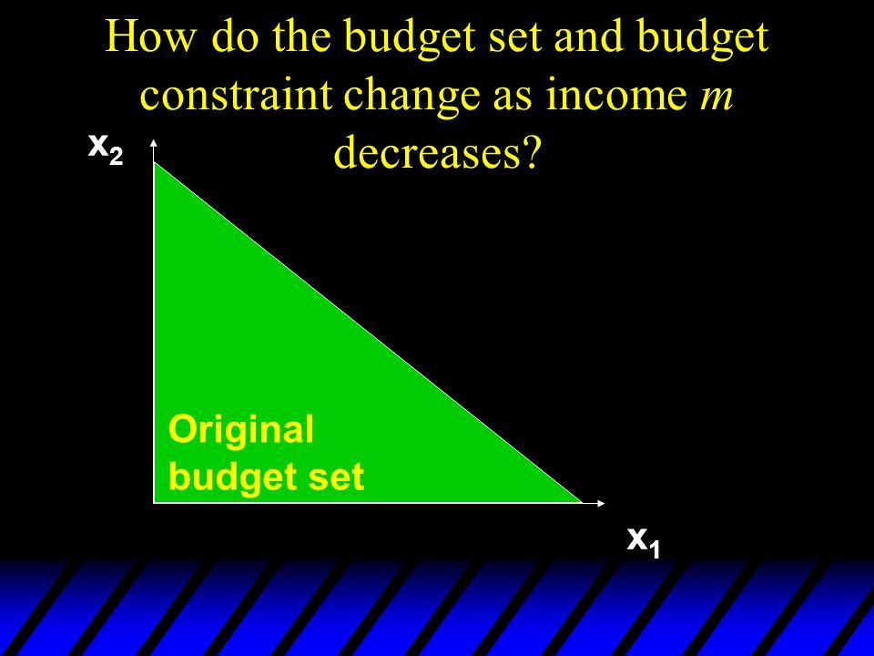 How do the budget set and budget constraint change as income m decreases? Original budget set x2x2 x1x1