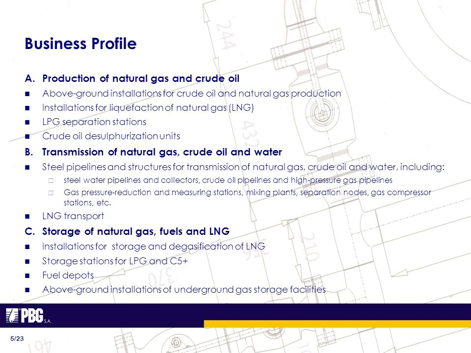 Business Profile A.Production of natural gas and crude oil Above-ground installations for crude oil and natural gas production Installations for lique