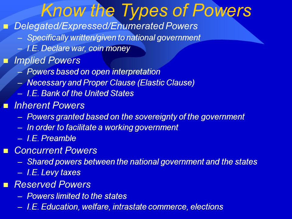 Know the Types of Powers n Delegated/Expressed/Enumerated Powers –Specifically written/given to national government –I.E.