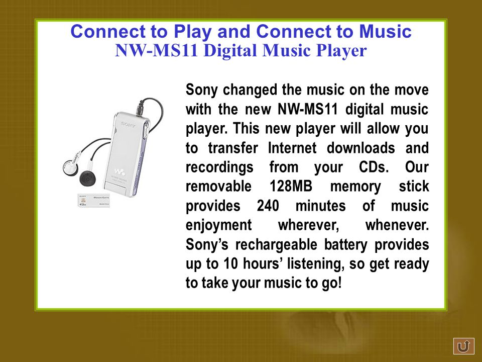 Ex. 18Write an advertisement with the help of the information given. Reference Product:Sonys NW-MS11 Digital Music Player Title:Connect to Play and Co